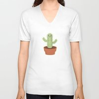 kawaii V-neck T-shirts featuring Kawaii Cactus by Nir P