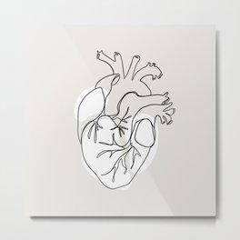 Minimalist Anatomical Heart Metal Print