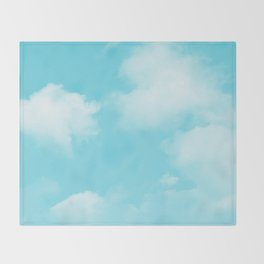 Aqua Blue Clouds Throw Blanket