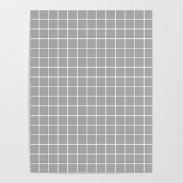 Dark medium gray - grey color - White Lines Grid Pattern Poster