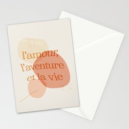 l'amour, l'aventure et la vie Stationery Cards