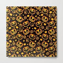 Orange Festive Scary and Spooky Halloween Pumpkins Metal Print