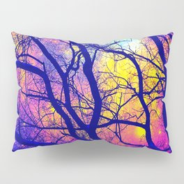 Black Trees Deep Bright & Colorful Space Pillow Sham