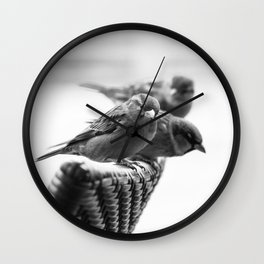 Sparrows On Chair Back Wall Clock