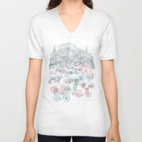 tote V-neck T-shirts featuring Old Town Bikes by David Fleck