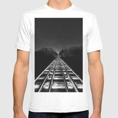 Vanishing Night Rails White MEDIUM Mens Fitted Tee