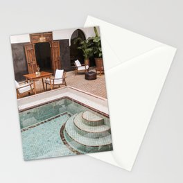 Swimming Pool In Riad Kasbah Marrakech Photo   Morocco Travel Photography Art Print   Arabic House Interior Design Stationery Cards