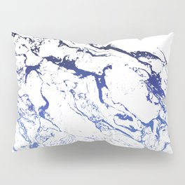 Modern white marble blue ombre navy blue watercolor gradient fade Pillow Sham