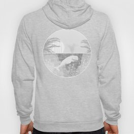 Tropical Black and White Vintage Whale Design Hoody