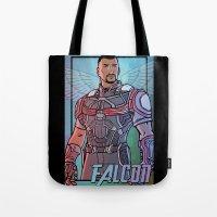 falcon Tote Bags featuring Falcon by DeanDraws
