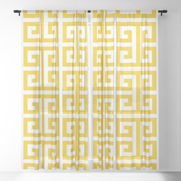 Large Gold and White Greek Key Pattern Sheer Curtain