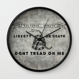 Culpeper Minutemen flag, Worn distressed textues Wall Clock
