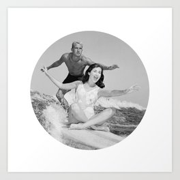 Tandem Couple Surfing Art Print