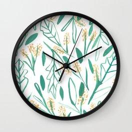 Mustard & Green Leaves Wall Clock