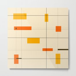 Mid Mod Grid in Orange Metal Print