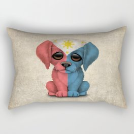 Cute Puppy Dog with flag of The Philippines Rectangular Pillow