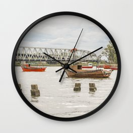 Boats at Santa Lucia River in Montevideo Uruguay Wall Clock