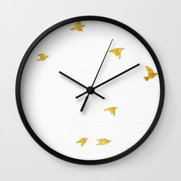 Raven Birds in Gold Copper Bronze Wall Clock