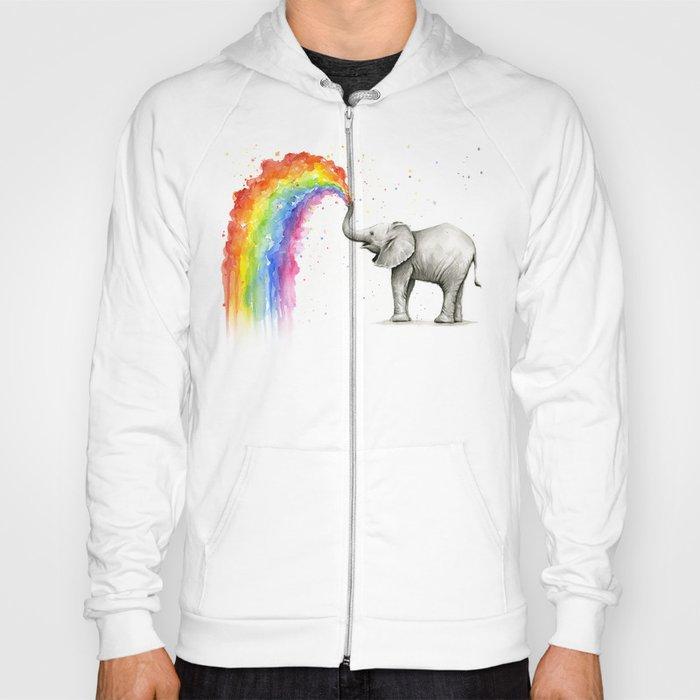 Baby Elephant Spraying Rainbow Hoody