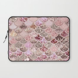 Rose Gold Blush Glitter Ombre Mermaid Scales Pattern Laptop Sleeve