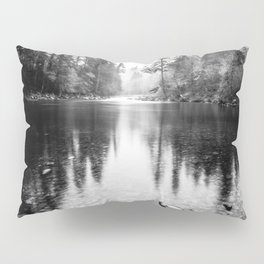 Forest Reflection Lake - Black and White  - Nature Photography Pillow Sham