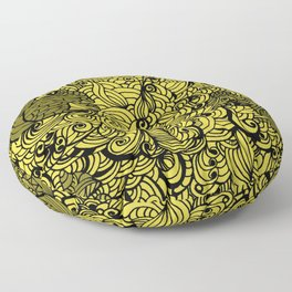 Squirrels Zentangle Drawing Yellow Floor Pillow
