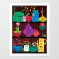 calender Art Prints featuring Calender 2013 Shelf by Darling Planet Earth