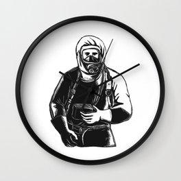EMT Wearing Hazmat Suit Scratchboard Wall Clock