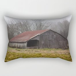 Barn in the Mist - Rustic Barn with Red Tin Roof on Foggy Day in Arkansas Rectangular Pillow