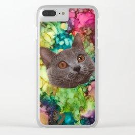 Grey Cat Face Clear iPhone Case