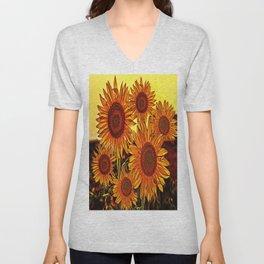sunflowers family Unisex V-Neck