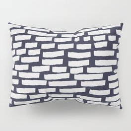 Light Grey Strokes on Dark Blue Pillow Sham