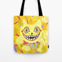 cheshire cat Tote Bags featuring Cheshire Cat by Janna Morton