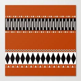 Bohemian orange, black&white tribal vibe Canvas Print