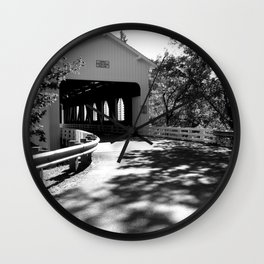 Covered Bridge in Black and White Wall Clock