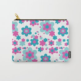 Teal Blue and Hot Pink Floral Carry-All Pouch