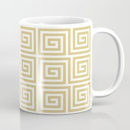 Hollywood Regency Greek Key Pattern Gold and White Coffee Mug