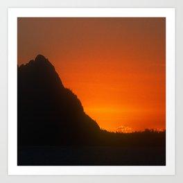 Tangerine Sunset Over Mountain Peak In Luxurious Silhouette  Art Print