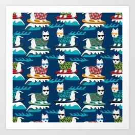 Westie surfing west highland terrier summer fun dog breed Art Print