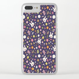 Bunny Floral Pattern Design / Purple Clear iPhone Case