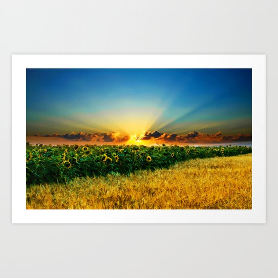 A New Day In The Farm Fields - Painting Style Art Print