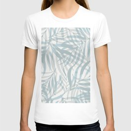 Digital palm leaves in pastel blue and gray T-shirt