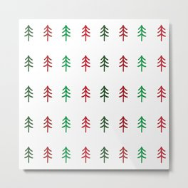 Hand drawn forest green and red trees for Christmas time Metal Print