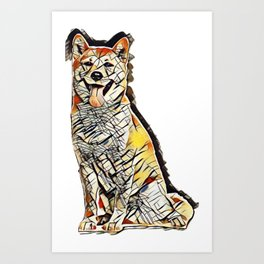 Shiba Inu dog sitting and panting, isolated        - Image Art Print