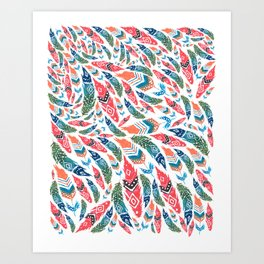 tribal feather shower // watercolor feathers pattern Art Print