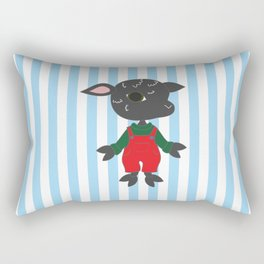 Cute black sheep. Cartoon style animal character illustration. Rectangular Pillow