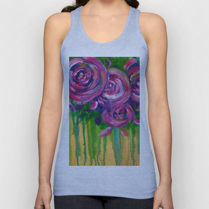 Drip Flowers - Botanical - Floral Unisex Tank Top