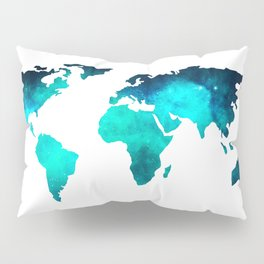 World Map Space Galaxy Stars in Turquoise Pillow Sham