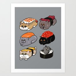 Sushi British Shorthair Cat Art Print
