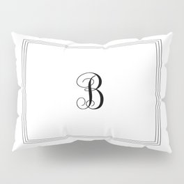 Monogram Letter B in Black with Triple Border Pillow Sham